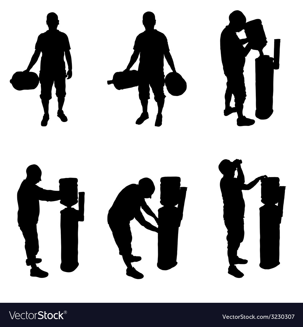 Man and machine for water silhouette vector | Price: 1 Credit (USD $1)