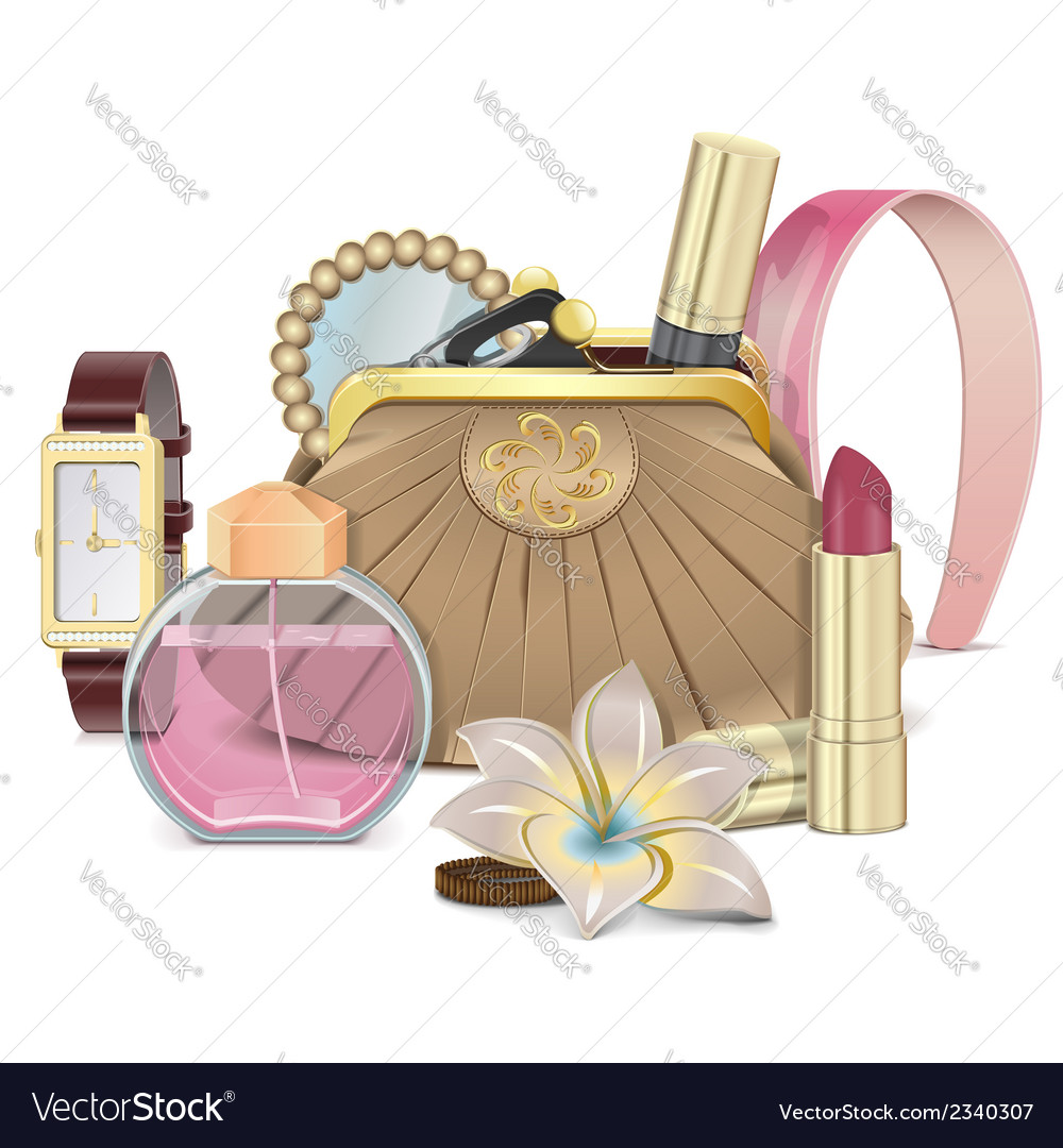 Purse with accessories vector | Price: 1 Credit (USD $1)