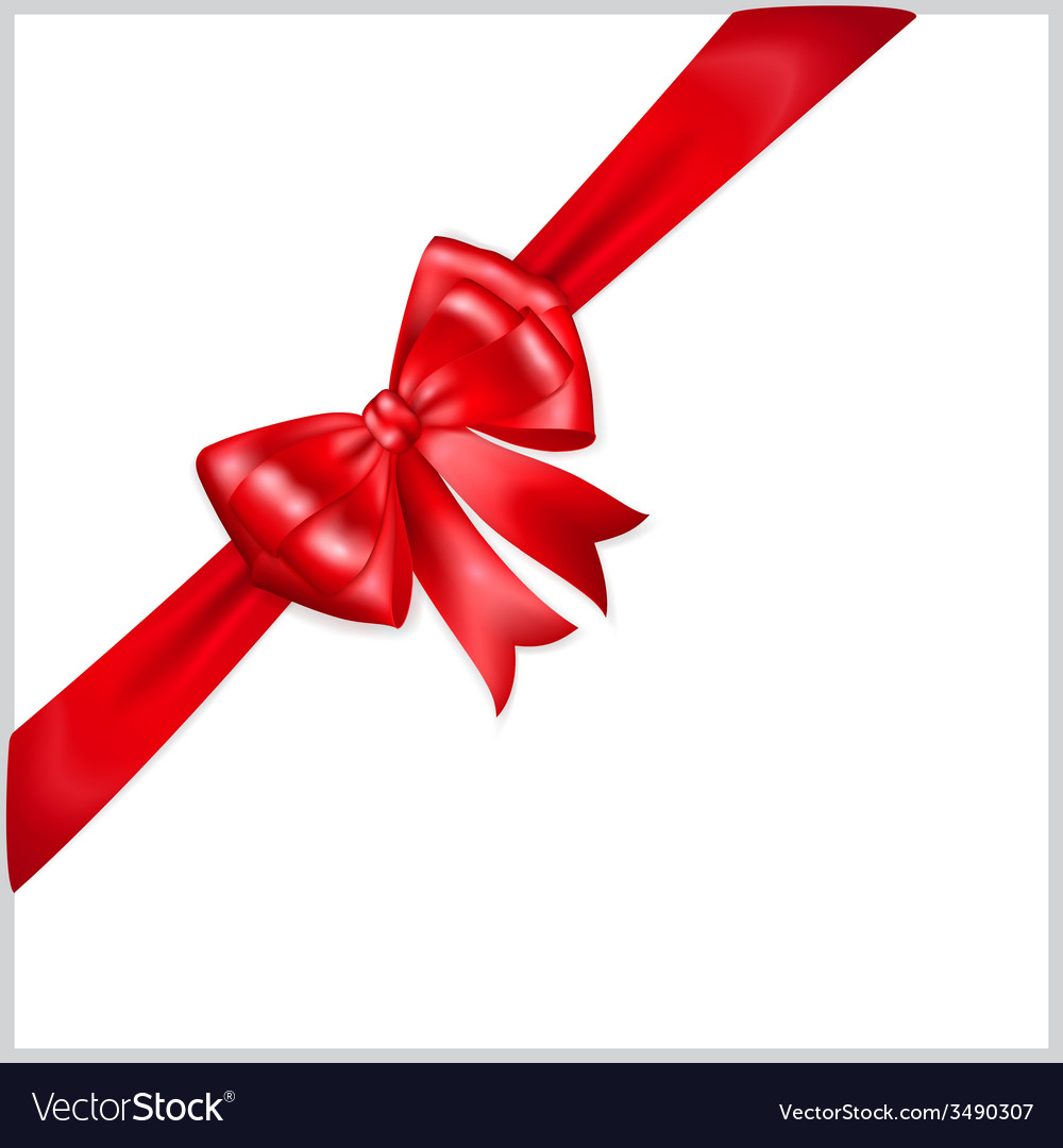 Red bow with diagonally ribbon vector | Price: 1 Credit (USD $1)