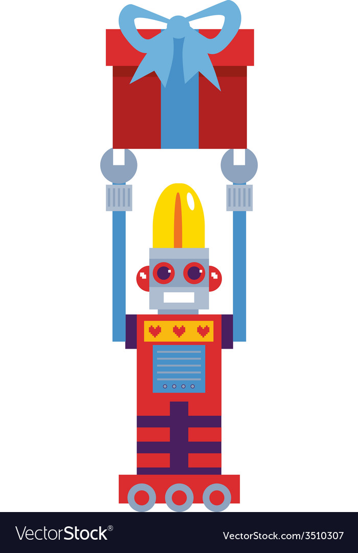Retro robot with gift vector | Price: 1 Credit (USD $1)