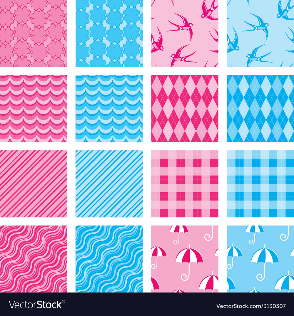 Set of fabric textures in pink and blue colors - s vector | Price: 1 Credit (USD $1)
