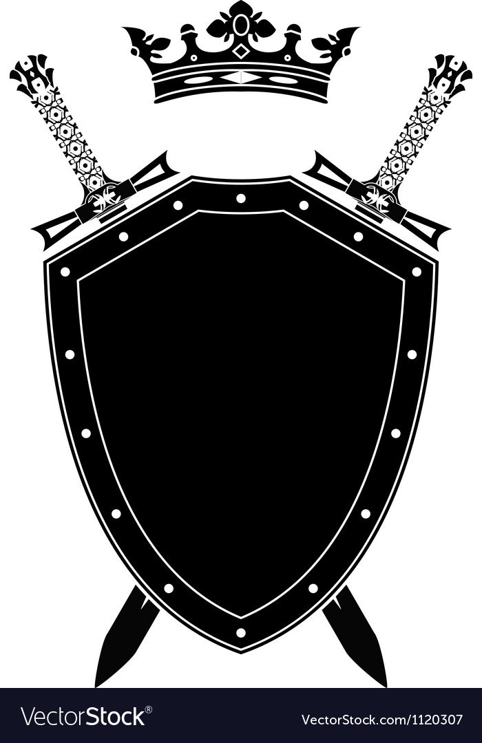 Shield swords and crown vector | Price: 1 Credit (USD $1)