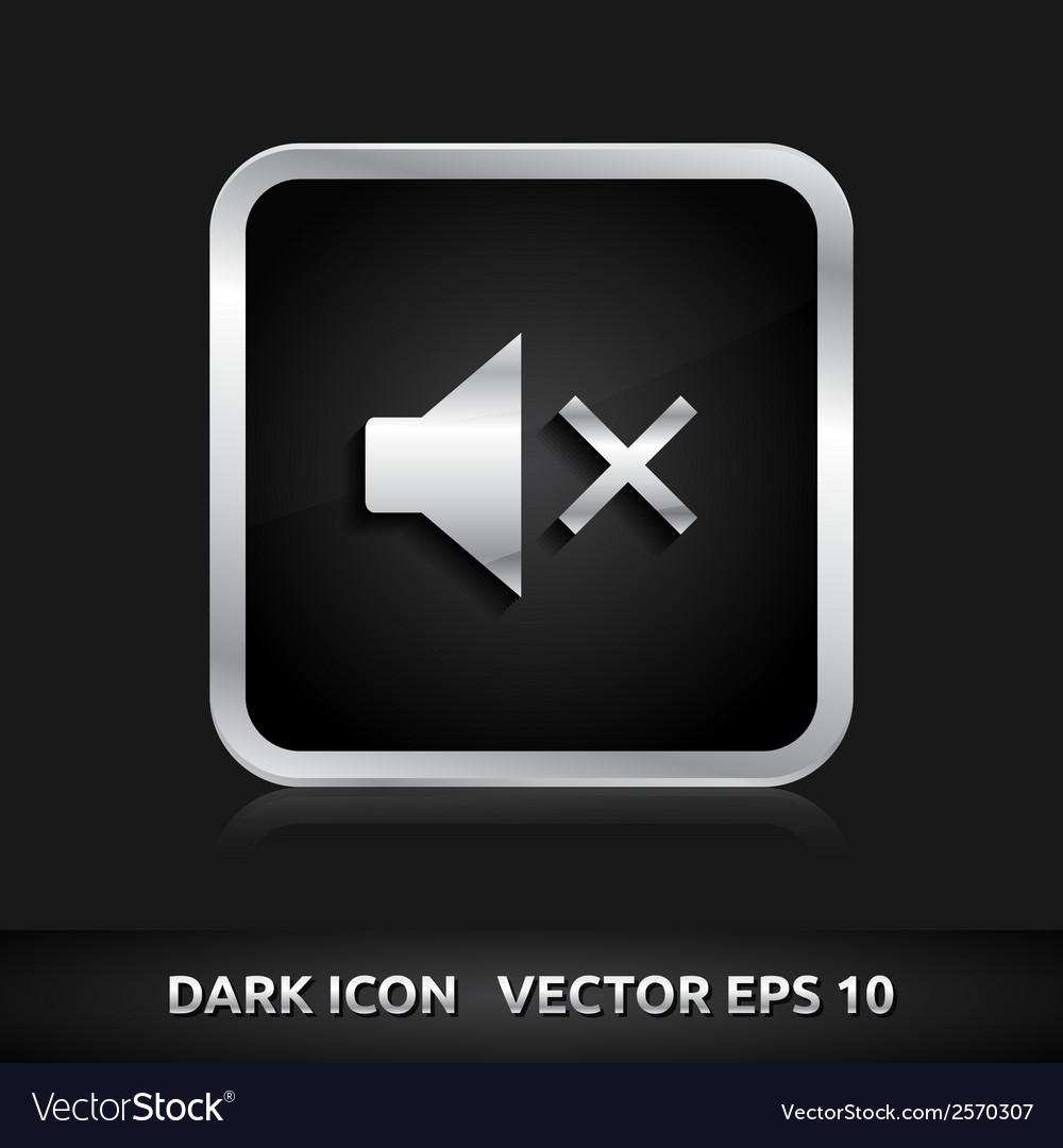 Sound off mute icon silver metal vector   Price: 1 Credit (USD $1)