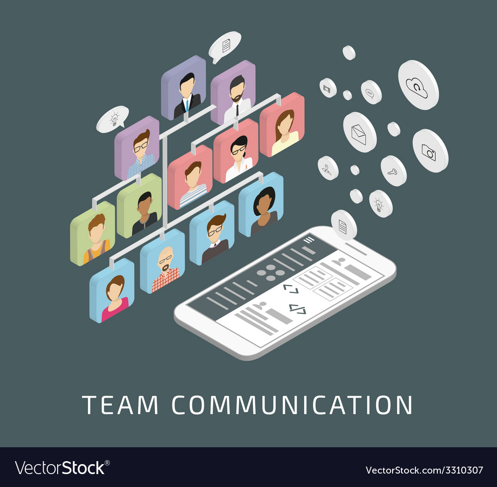 Team communication via smartphone app vector | Price: 1 Credit (USD $1)