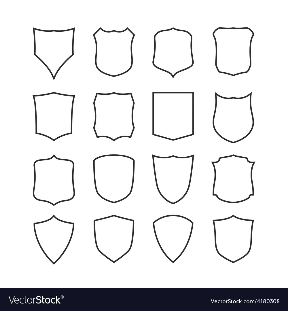 Big set of blank classic shields templates vector | Price: 1 Credit (USD $1)