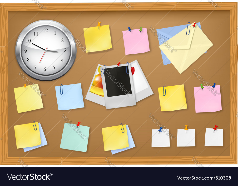 Clock office supplies on brown desk horiz vector | Price: 3 Credit (USD $3)