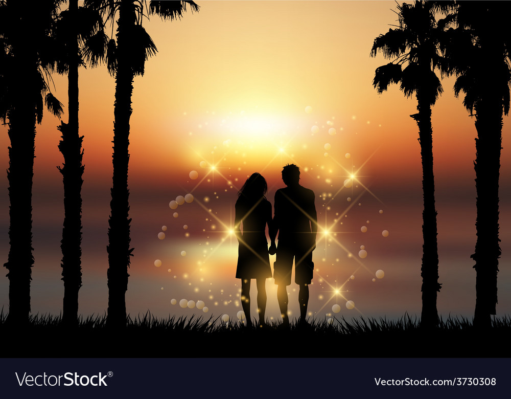 Couple holding hands against a sunset background vector | Price: 1 Credit (USD $1)