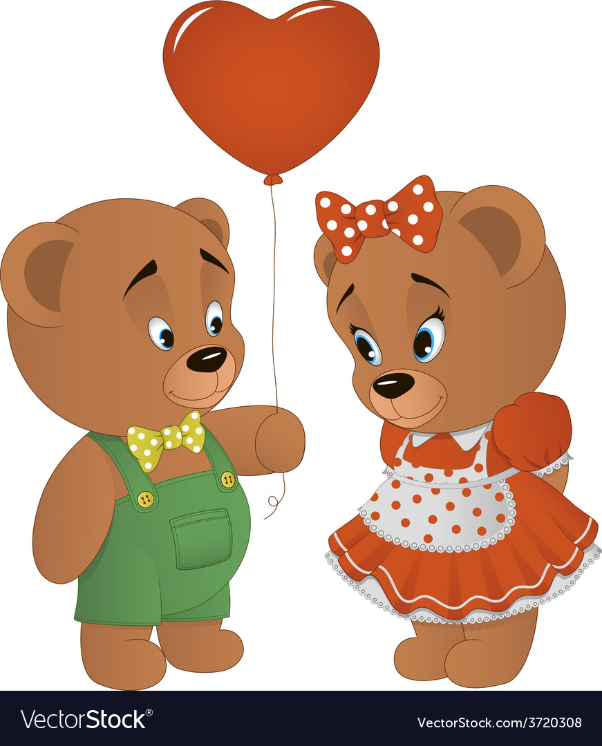 Cute bears with heart vector | Price: 1 Credit (USD $1)