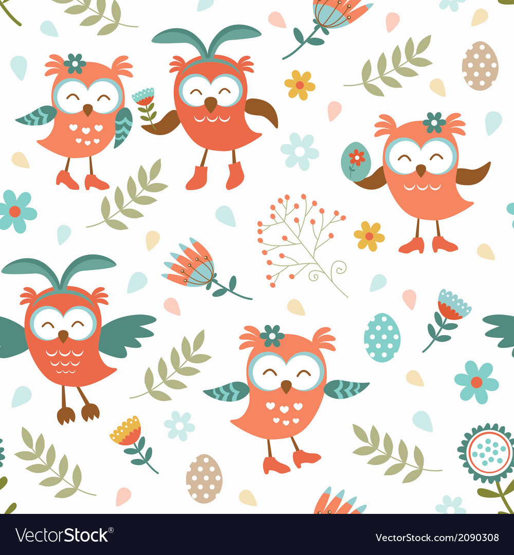 Cute easter owls pattern vector | Price: 1 Credit (USD $1)
