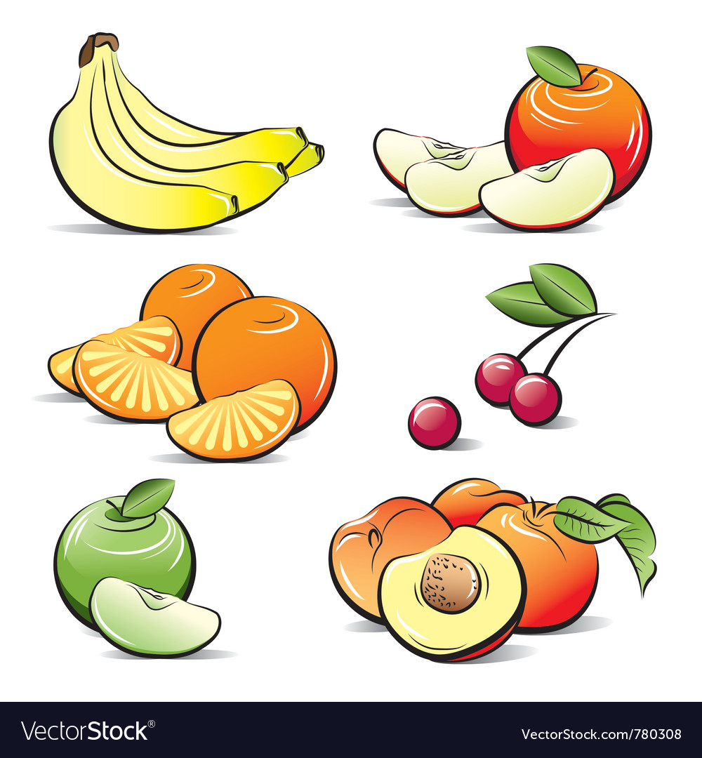 Drawing set of different color fruits vector | Price: 3 Credit (USD $3)