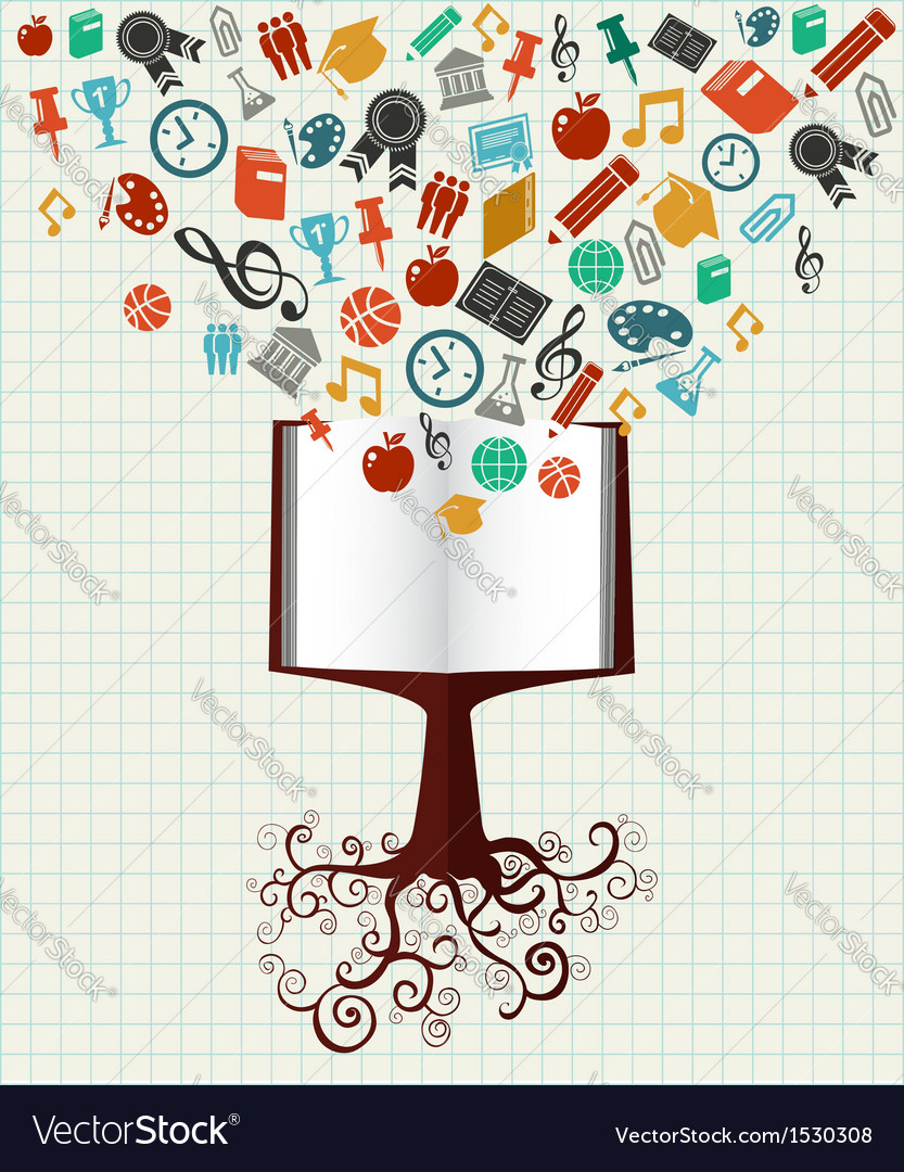 Education colorful icons book tree vector | Price: 1 Credit (USD $1)