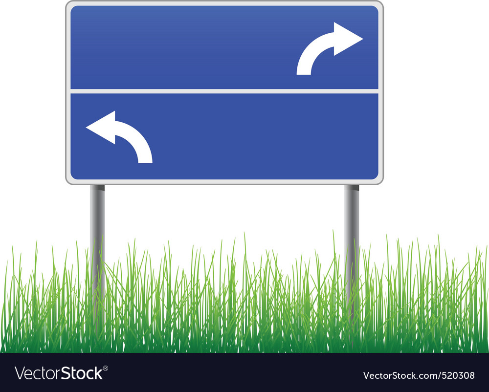 Empty signpost with arrows grass below vector | Price: 1 Credit (USD $1)