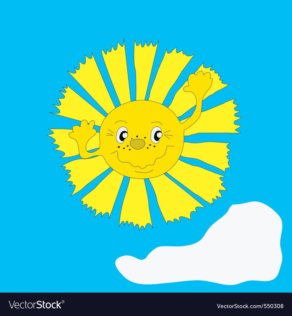 Happy sun cartoon vector | Price: 1 Credit (USD $1)