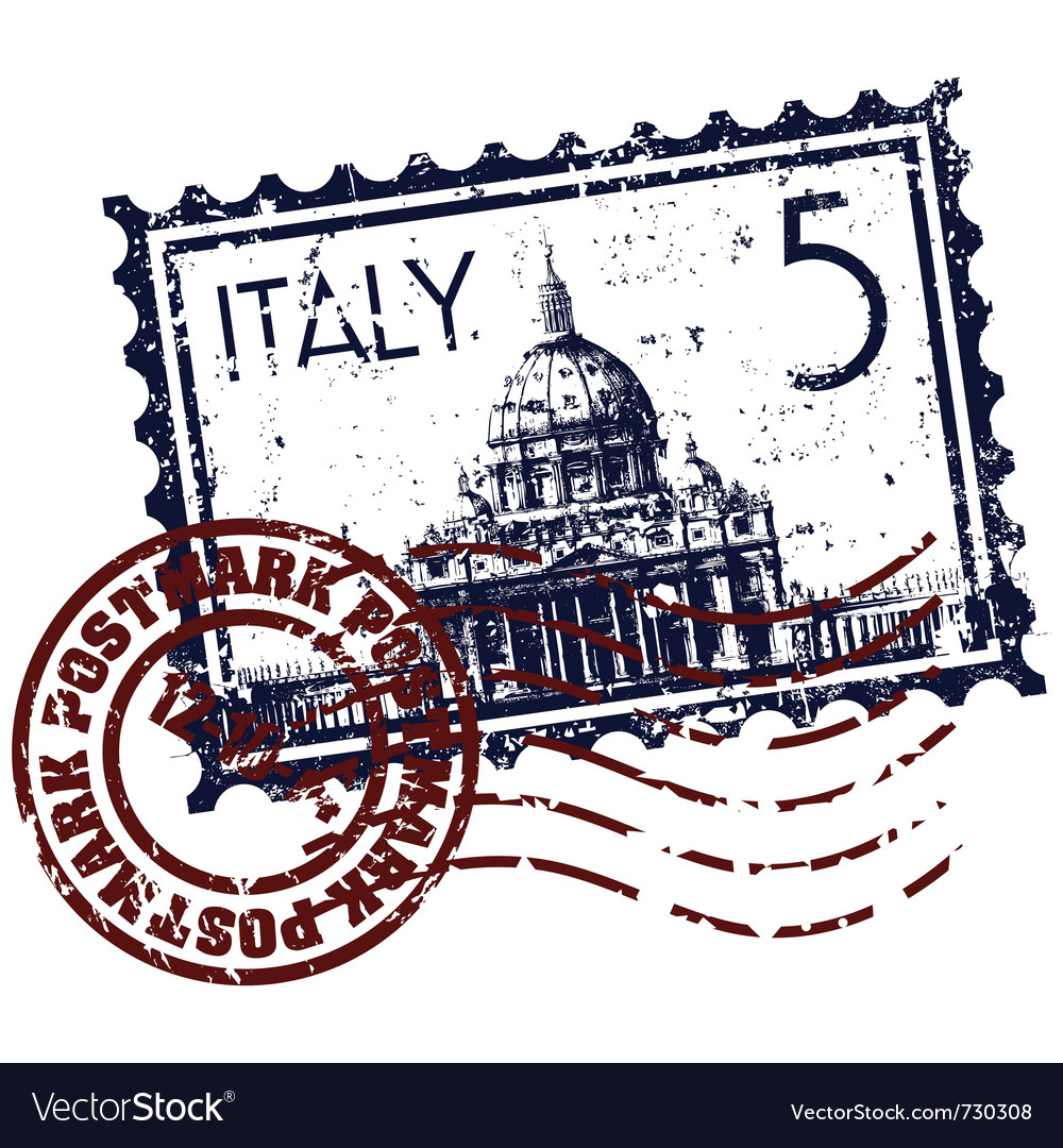 Italy stamp icon vector | Price: 1 Credit (USD $1)