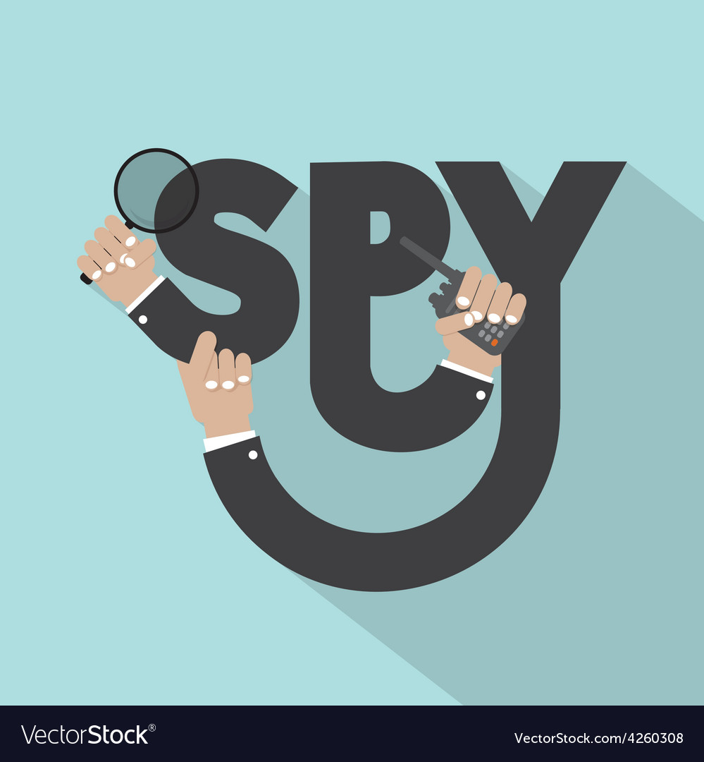 Magnifying glass in hand with spy typography vector | Price: 1 Credit (USD $1)