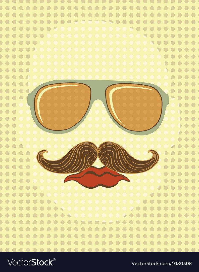 Male face with mustache and glasses vector | Price: 3 Credit (USD $3)