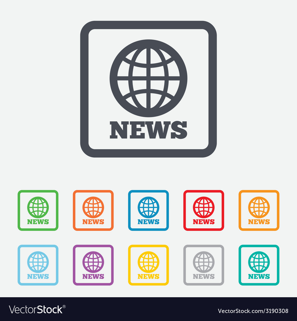 News sign icon world globe symbol vector | Price: 1 Credit (USD $1)