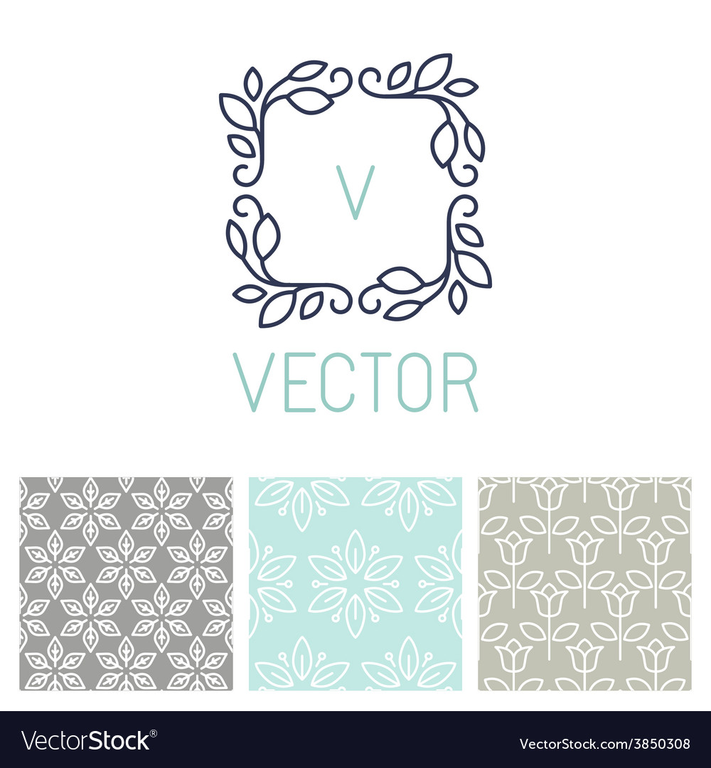 Set of floral border and seamless patterns vector | Price: 1 Credit (USD $1)