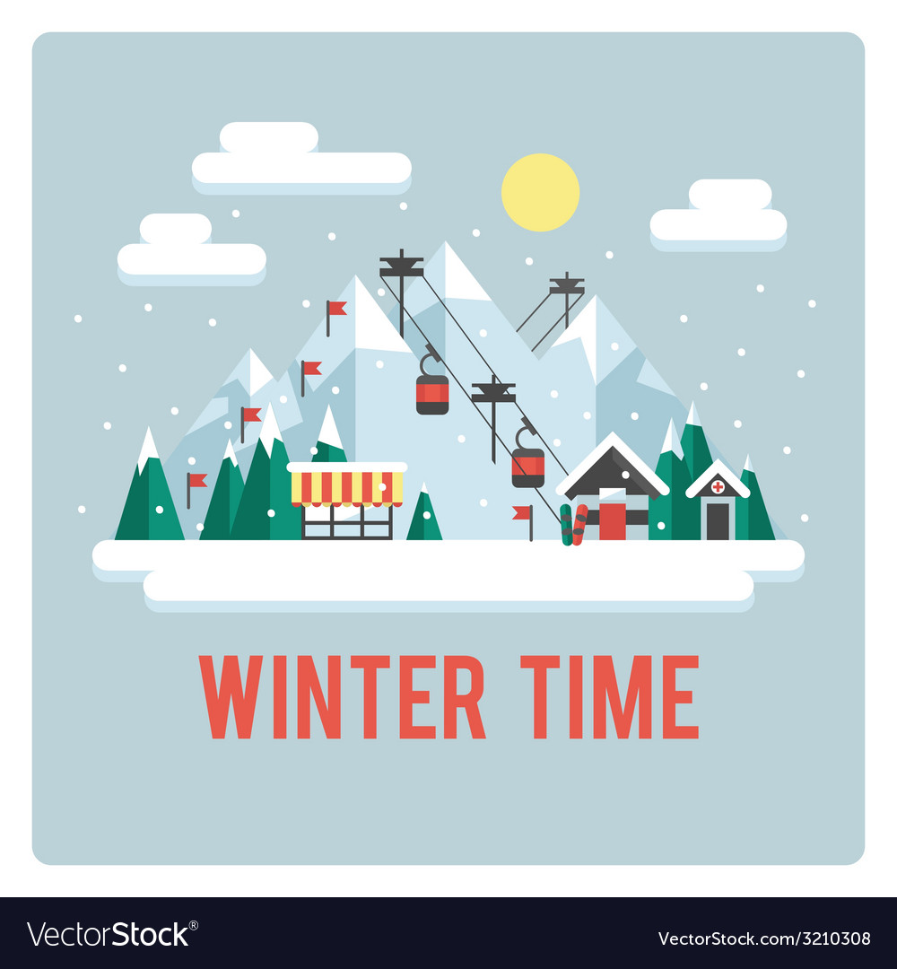 Ski resort in mountains winter time day vector | Price: 1 Credit (USD $1)