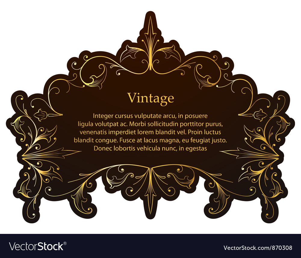 Vintage gold floral frame vector | Price: 1 Credit (USD $1)