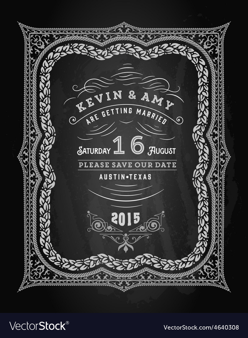 Wedding invitation vintage card freehand vector | Price: 1 Credit (USD $1)