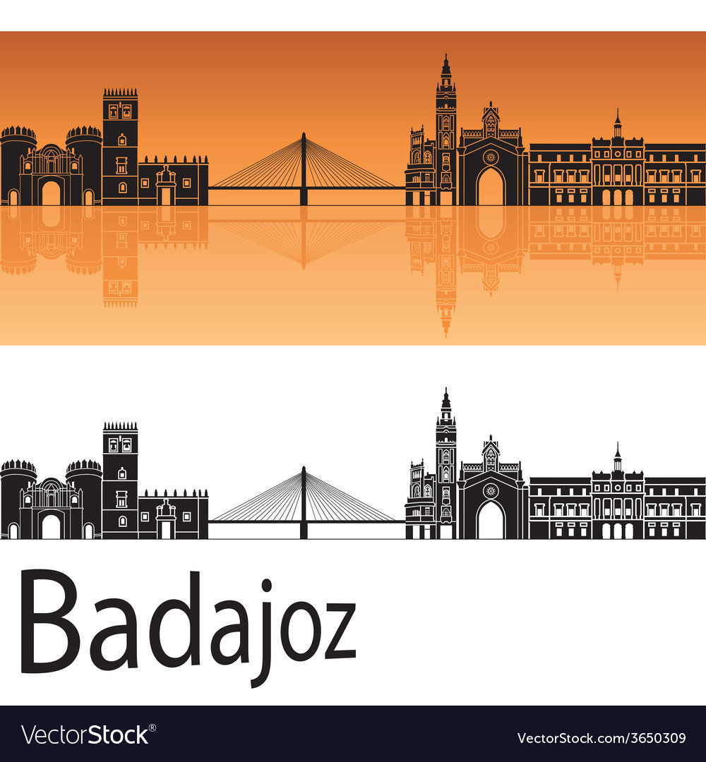 Badajoz skyline in orange background vector | Price: 1 Credit (USD $1)