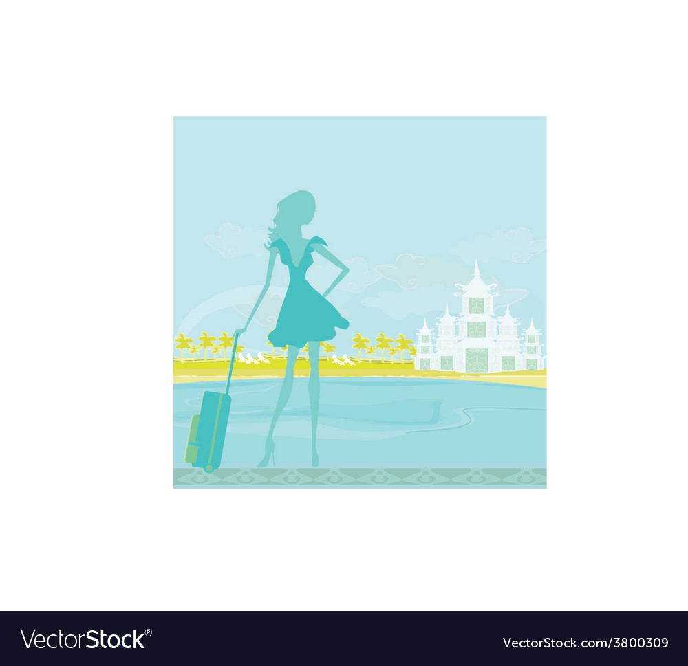 Beauty travel girl silhouette with baggage on vector | Price: 1 Credit (USD $1)