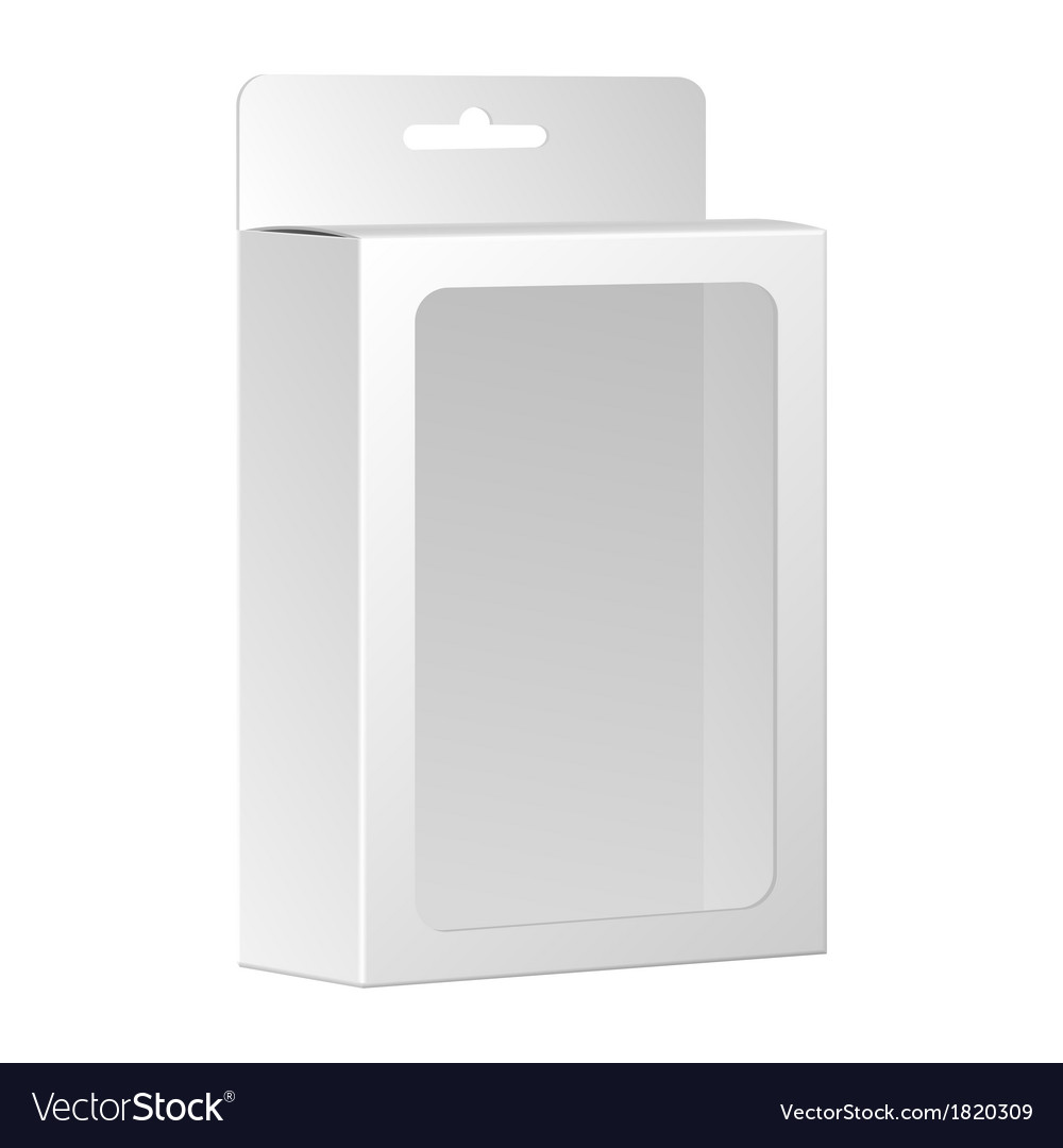 Blank white product package box with window vector | Price: 1 Credit (USD $1)