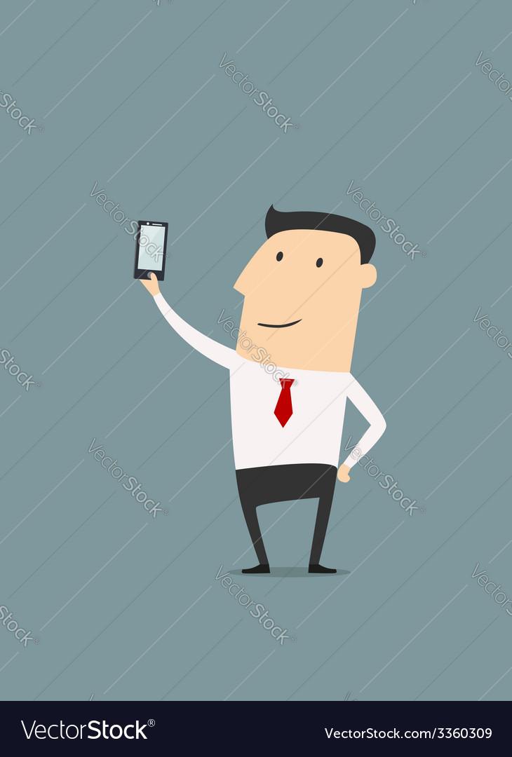 Businessman makes selfie shot vector | Price: 1 Credit (USD $1)