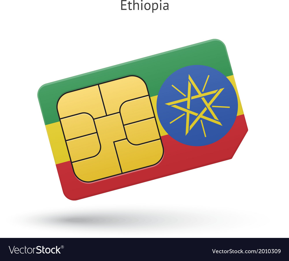 Ethiopia mobile phone sim card with flag vector | Price: 1 Credit (USD $1)