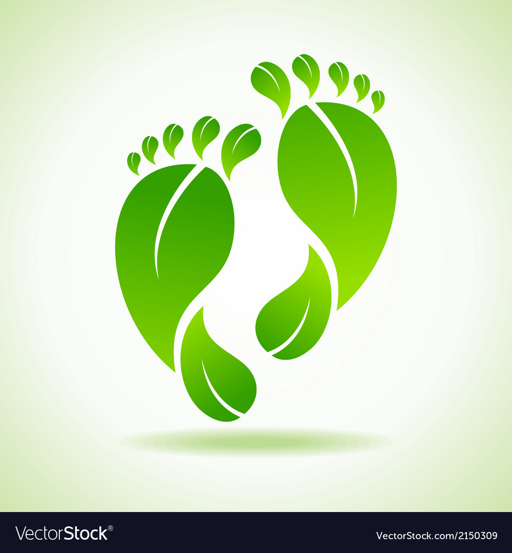 Foot made by green leaves vector | Price: 1 Credit (USD $1)