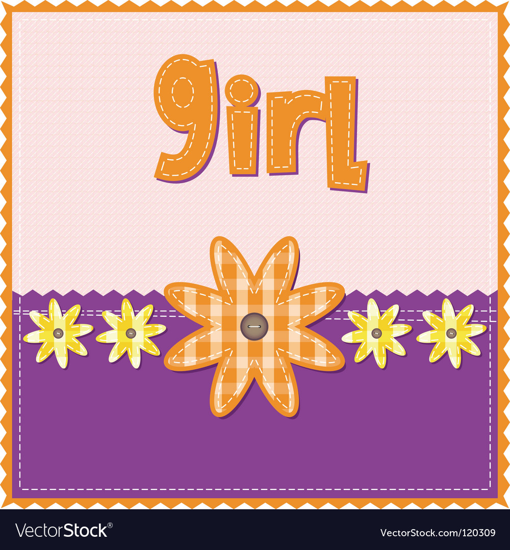 Girl birthday card vector | Price: 1 Credit (USD $1)