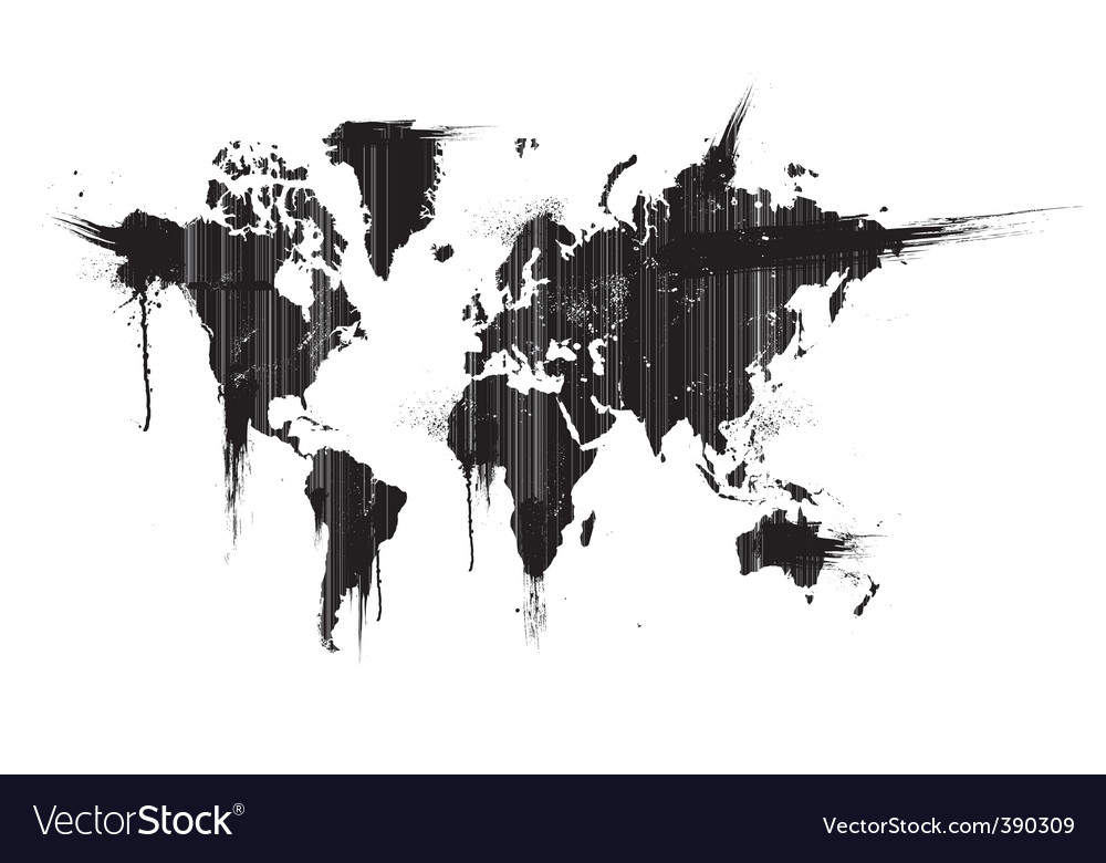 Grunge world map vector | Price: 1 Credit (USD $1)
