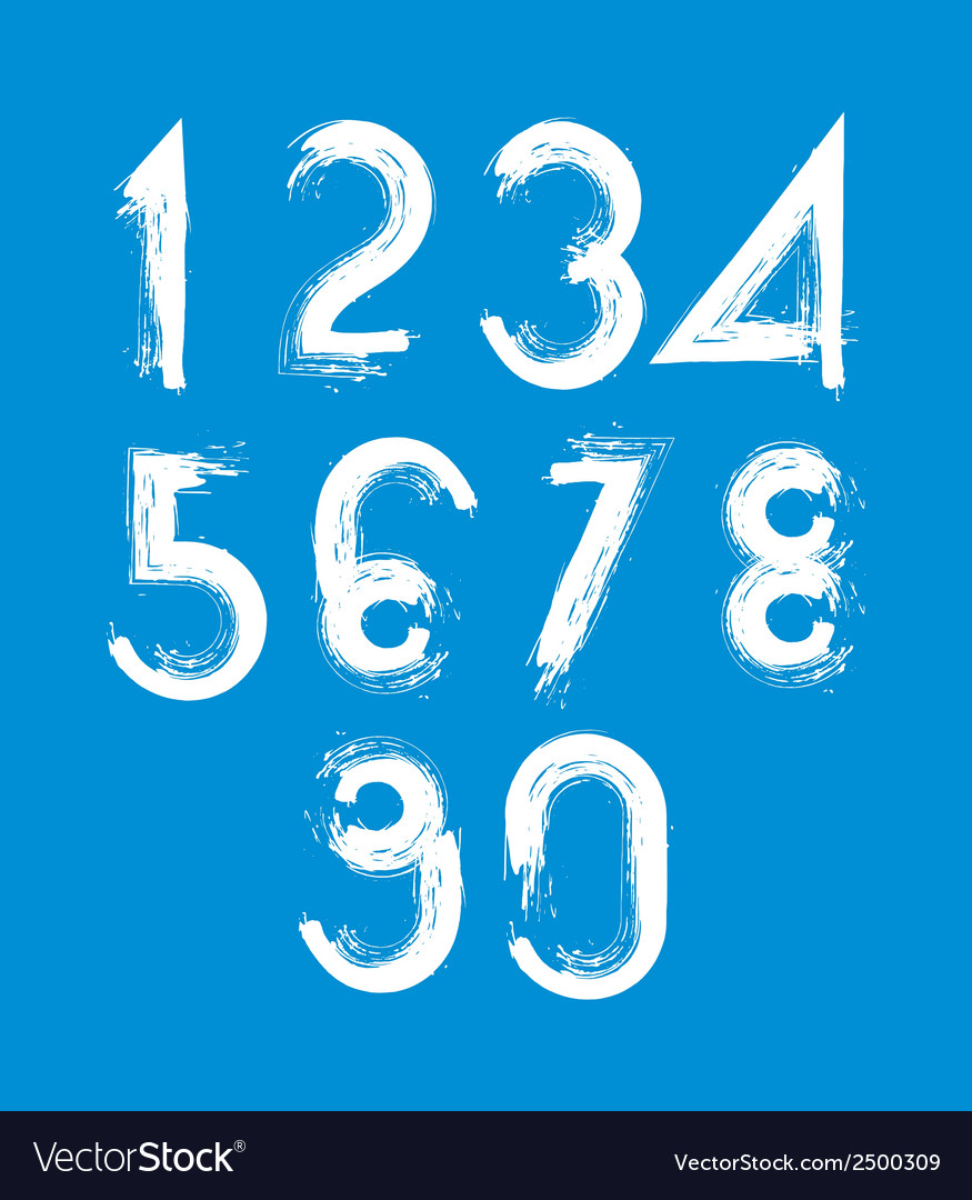 Handwritten white numbers isolated on blue vector | Price: 1 Credit (USD $1)