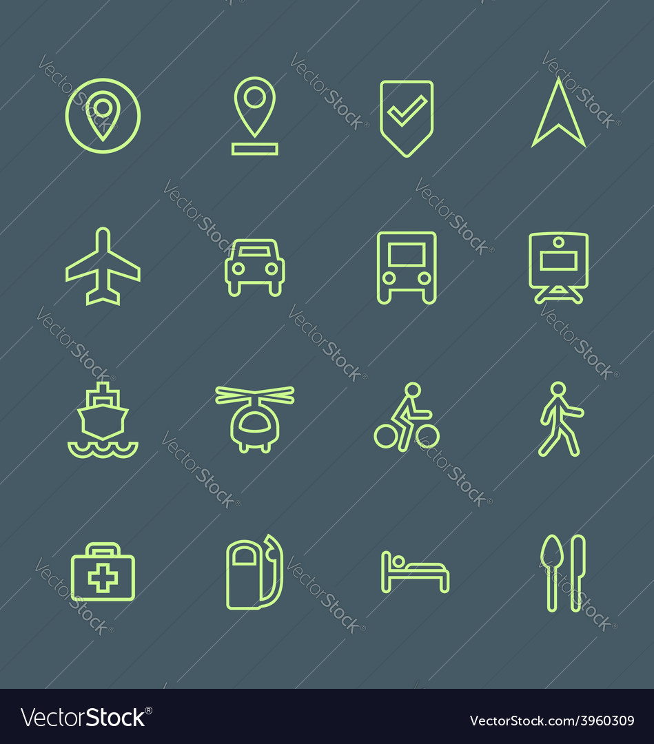 Light green outline various map navigation icons vector | Price: 1 Credit (USD $1)