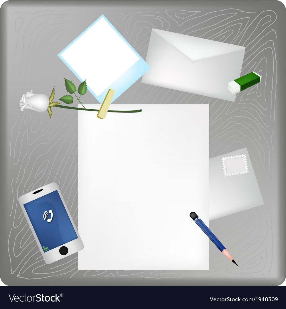 Pencil and white rose on blank page with envelope vector | Price: 1 Credit (USD $1)