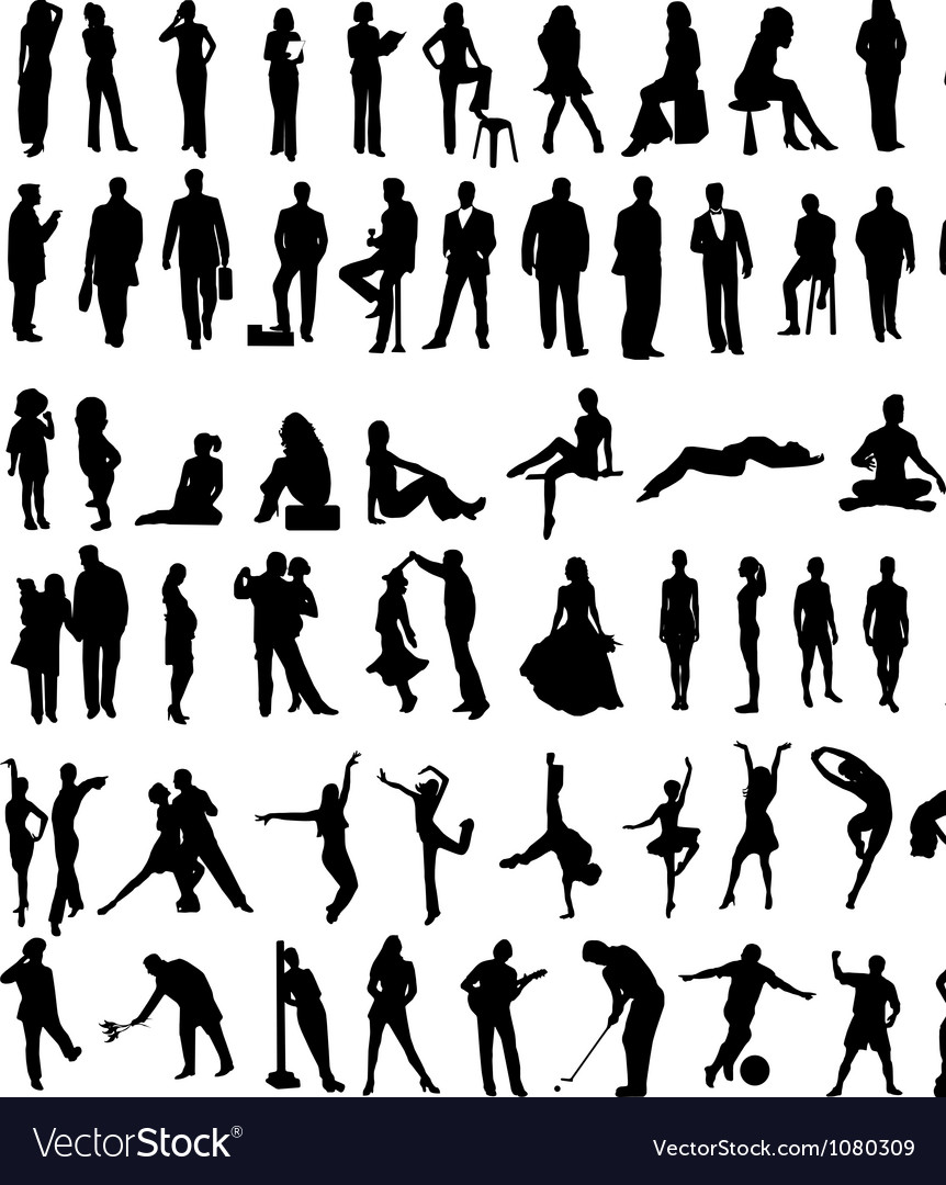 People sillhouettes vector | Price: 1 Credit (USD $1)