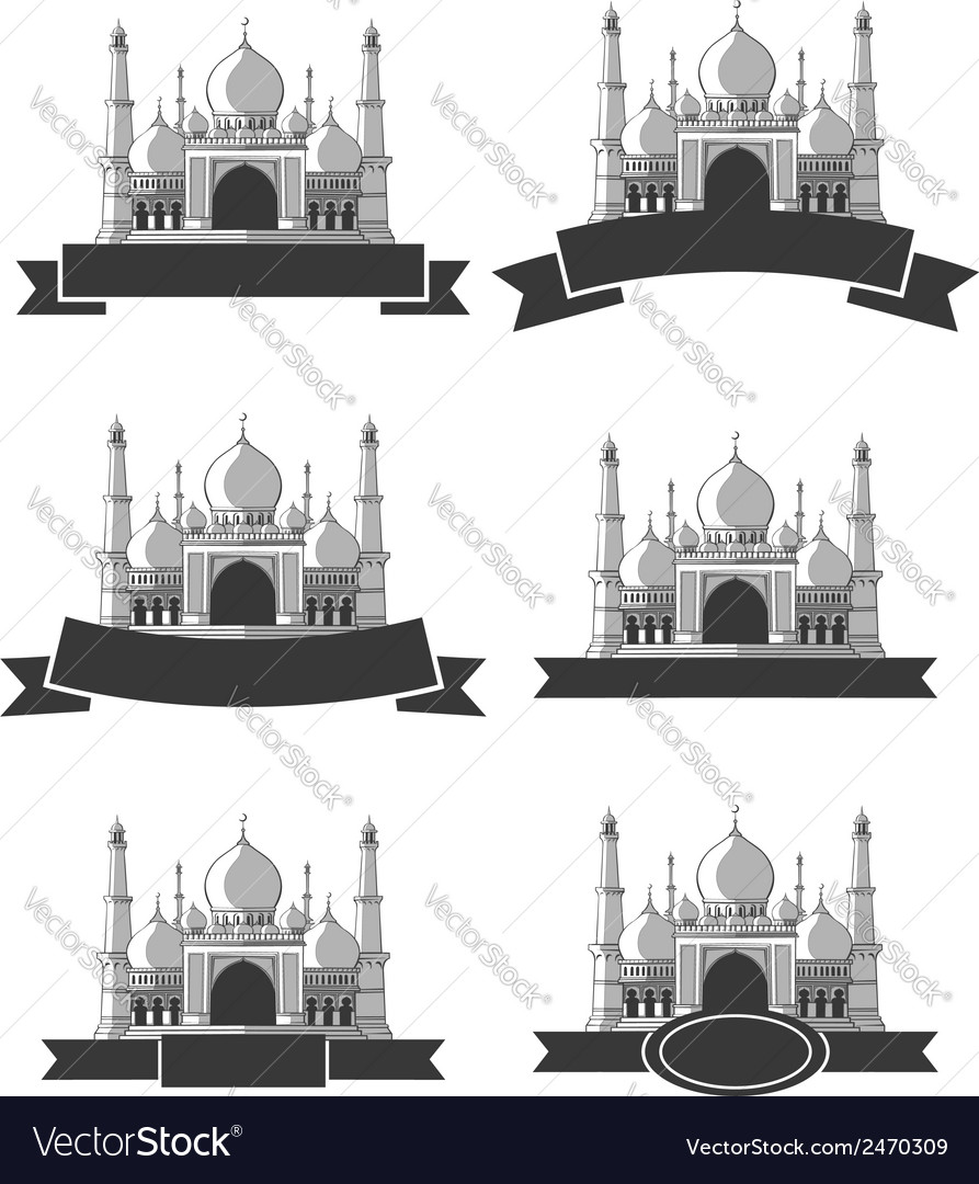 Ramadan eid mubarak greeting masjid banner vector | Price: 1 Credit (USD $1)