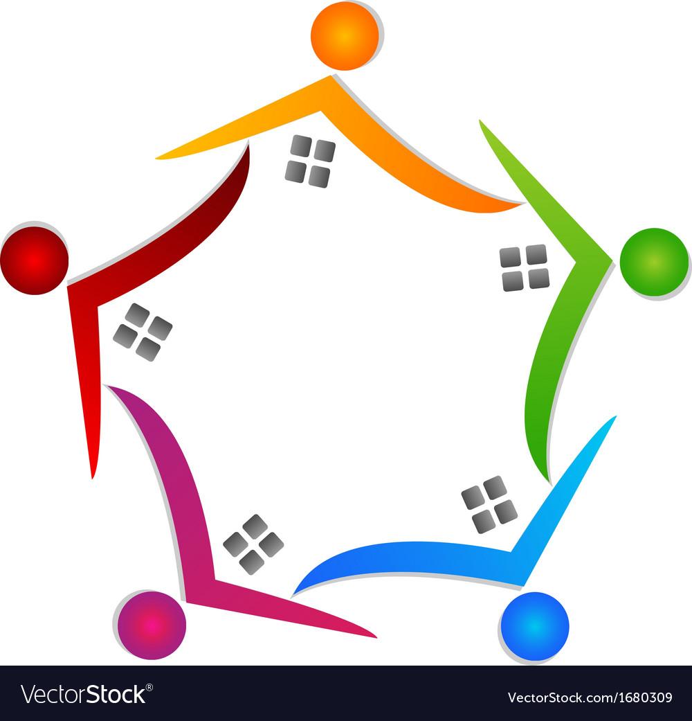 Real estate teamwork logo vector | Price: 1 Credit (USD $1)