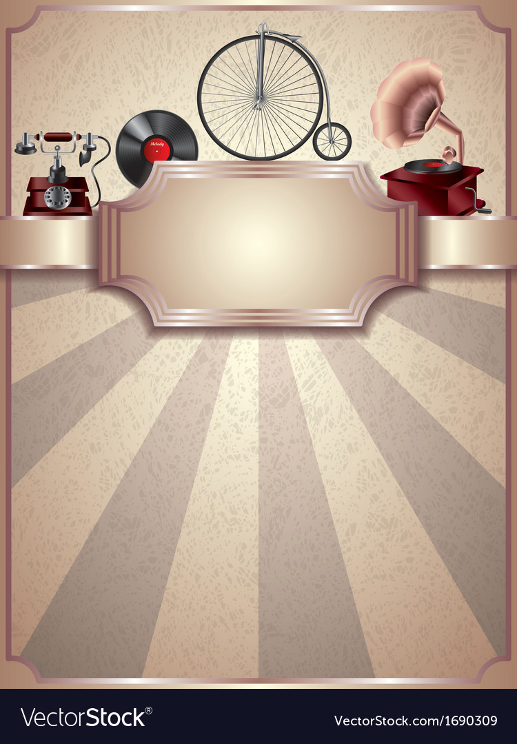 Retro objects vertical background vector | Price: 1 Credit (USD $1)