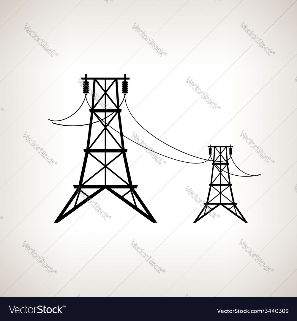 Silhouette high voltage power lines vector | Price: 1 Credit (USD $1)