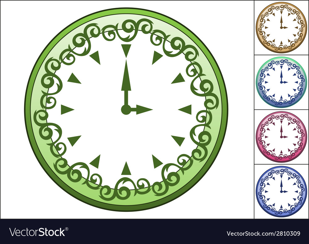 Simple wall clock decorated with ornate pattern vector | Price: 1 Credit (USD $1)
