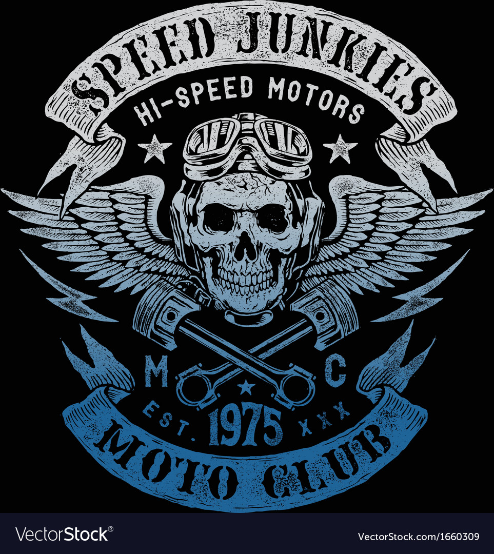 Speed junkies motorcycle vintage design vector | Price: 1 Credit (USD $1)