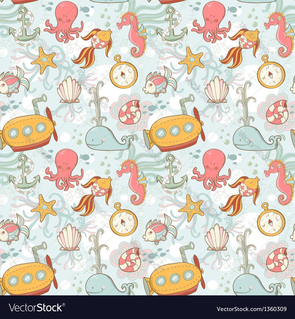 Underwater creatures cute cartoon seamless pattern vector | Price: 3 Credit (USD $3)