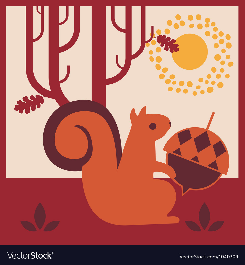 Wood autumn squirrel with an acorn vector | Price: 1 Credit (USD $1)