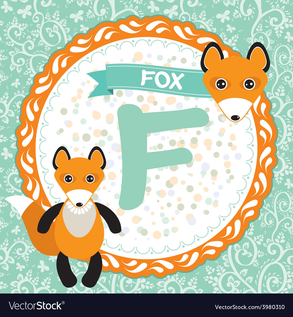 Abc animals f is fox childrens english alphabet vector | Price: 1 Credit (USD $1)