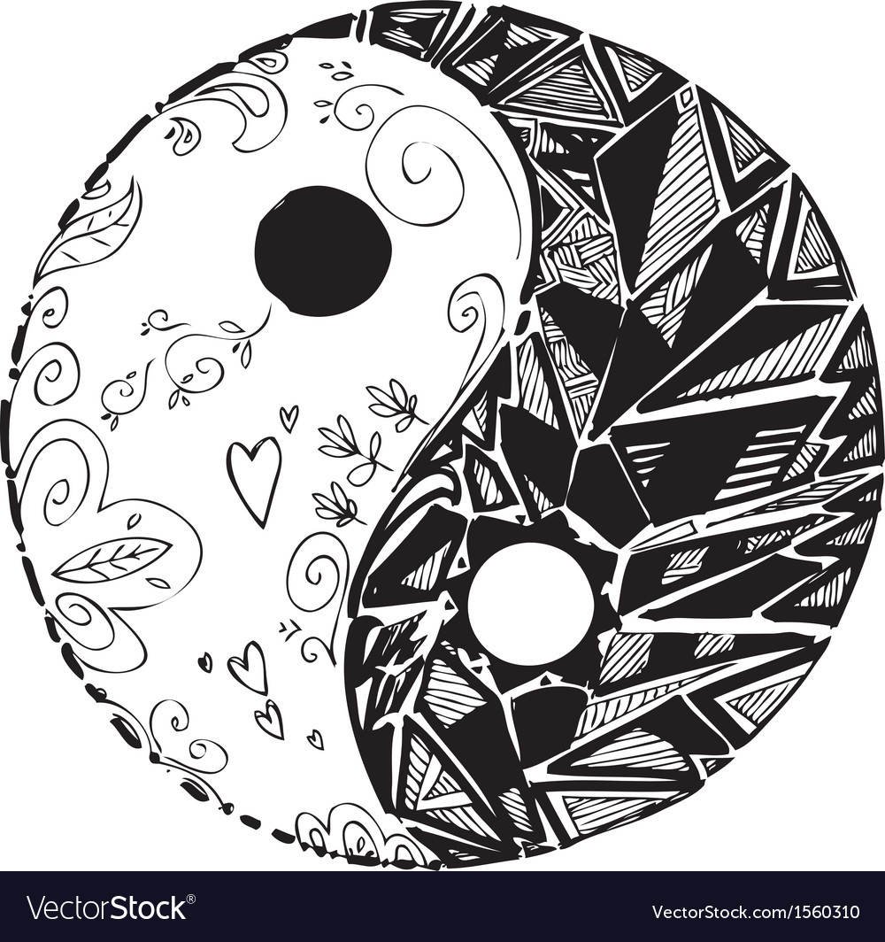 Black and white tao symbol vector | Price: 1 Credit (USD $1)