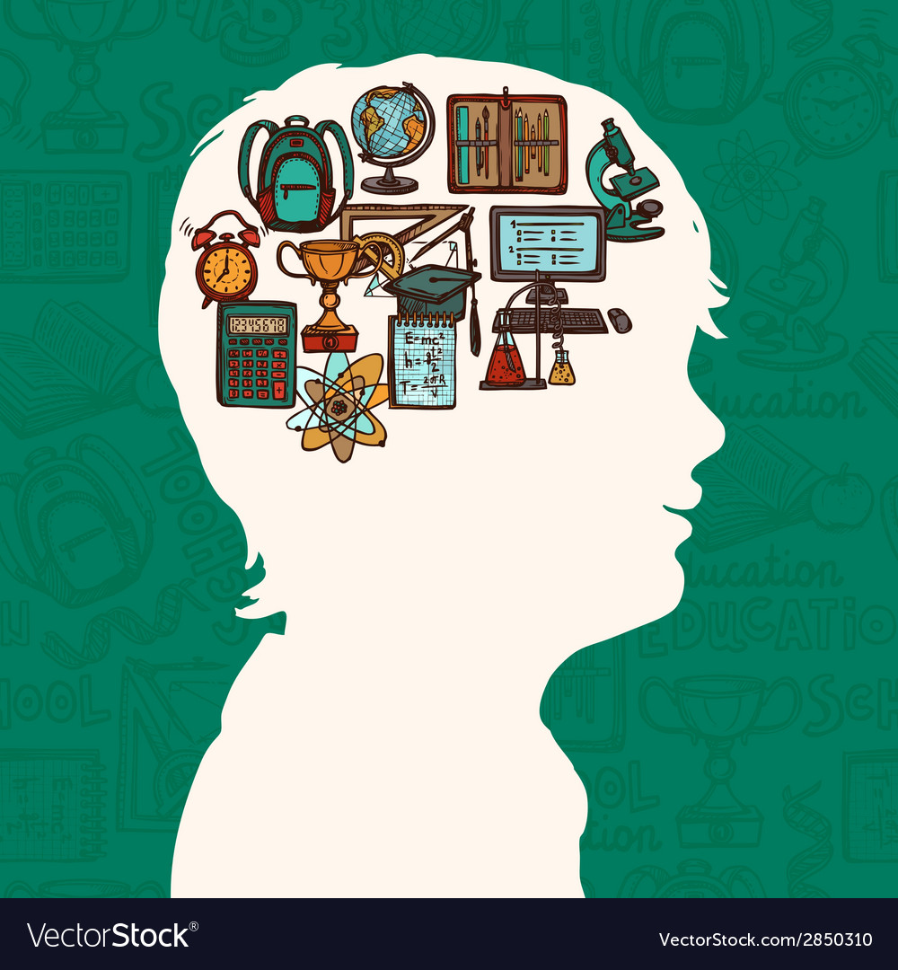 Boy silhouette with education icons vector | Price: 1 Credit (USD $1)