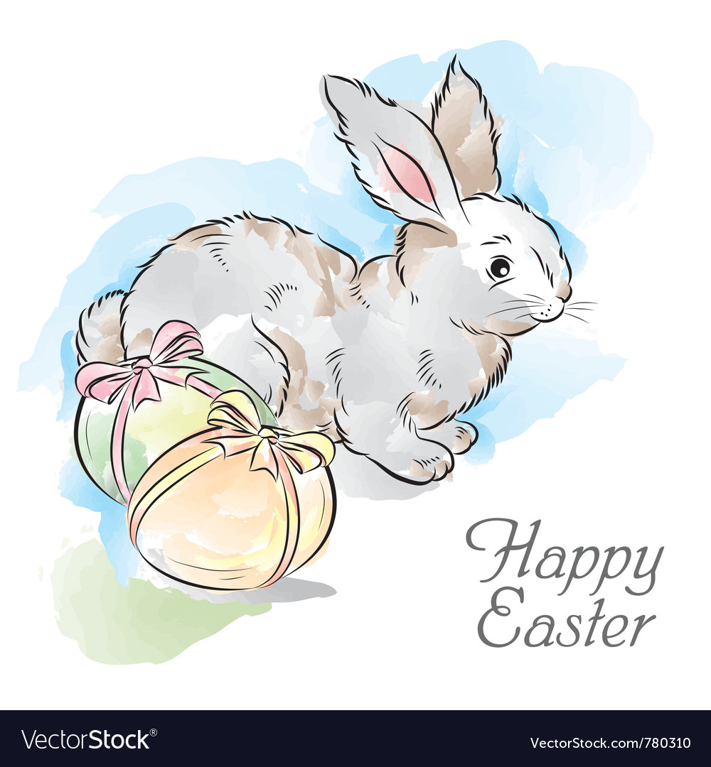 Easter card with rabbit and two eggs vector | Price: 3 Credit (USD $3)