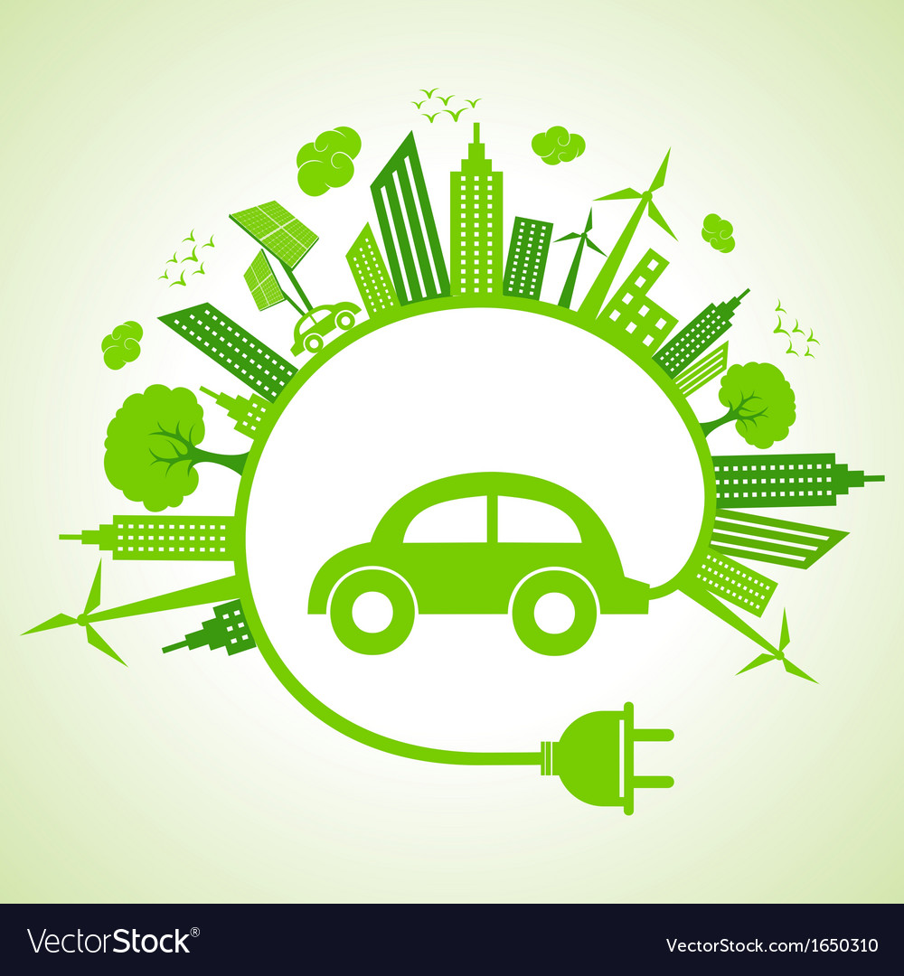 Ecology concept with eco car vector | Price: 1 Credit (USD $1)